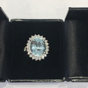 Jewelry - 14K White Gold Oval Aquamarine Diamond Ring